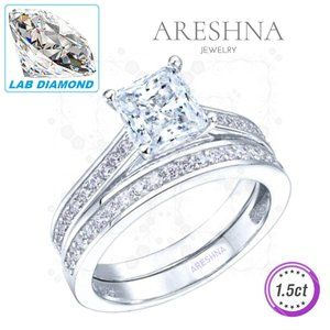 2Pcs 1.5ct Lab Diamond Princess Engagement Ring
